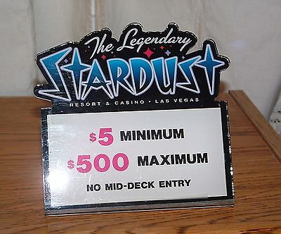 Stardust Casino Table Stakes Sign Black Jack 5.00 to 500.00 #1