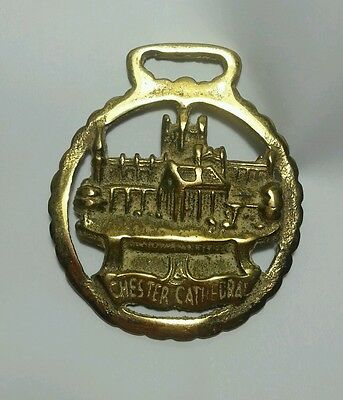 Vintage Brass Horse Bridle Saddle Medallion CHESTER CATHEDRAL made in England