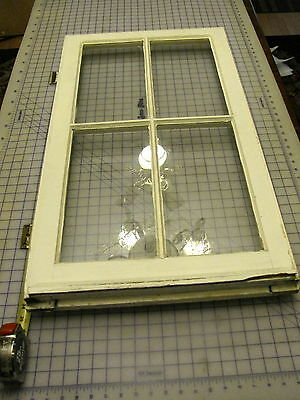 Antique 4 Pane Window With Hinges And Cam Latch Wavey Glass