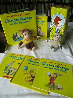 Large lot Curious George :Astronaut Rectangular Tin with Lid,plush, 5 books