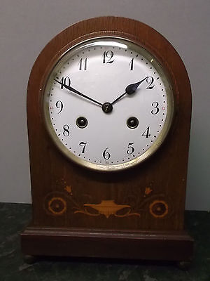 Vintage Mahogany Junghans Bow Top 8 Day Mantle Clock with Strike