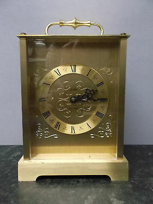 Vintage Brass 8 Day Carriage Style Clock with Bell Strike