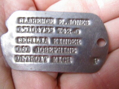 WWII Clarence E. Jones/  T42 NOK Dog Tag
