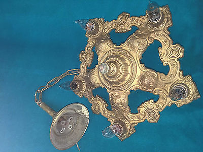 Vintage Antique Cast Iron Ceiling 5 Light Hanging Fixture Chandelier Art Deco