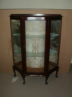 Antique Bow Front China Display Cabinet/ Unit Glass Shelves