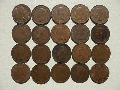 Lot of 20 Old English Half Penny Coins of England - mix of reigns