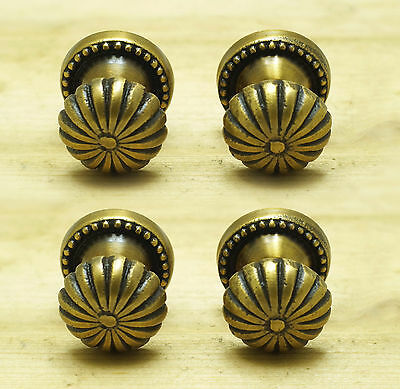 Set of 4 pcs Solid Brass Vintage Carved Flower Round KNOB Pulls Handle