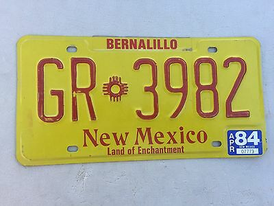 """1984 New Mexico Truck License Plate  """" Gr 3982 """" Nm 84 Land Of Enchantment"""