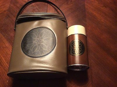 Vintage Brown Aladdin Thermos Floral Design with Carrying Bag 8oz