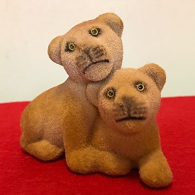 K & M Flocked Miniature Lion Cub Pair Toy Figure Wild Cats Cougars Panthers