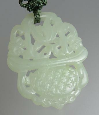 Nice Antique Chinese 19th 20th Century White Celadon Jade Floral Pendant Plaque