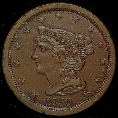 1850 Braided Hair Half Cent - Very Choice About Uncirculated