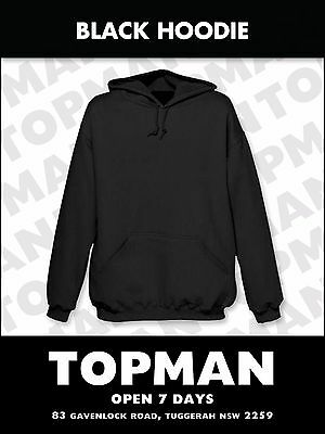 3 x Black Hoodie BULK Adult Hooded Sweatshirt Jumper KangarooPocket 3x FREEgifts