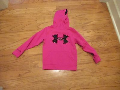 Under Armour girls Pink hoodie Storm Youth XS YXS fleece pullover black logo