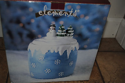 Snowman Snowflake Cookie Jar by Elements with box