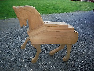 "Large Partially Carved Bass Wood Basswood Horse Figure Craft 45""x35""x9"""