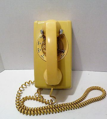 Vintage Bell System Western Electric Yellow Rotary Wall Telephone Phone Works!