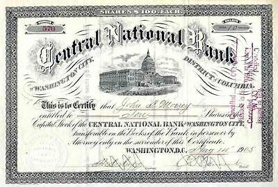 1905 Central National Bank of Washington City Stock Certificate
