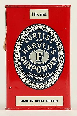 Curtis & Harvey Imperial Chemi Industries Limited Tin Litho Gun Powder Can Flask