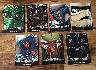 2016 Topps Star Wars Card Trader 7 Card Reflections Insert Set (Physical Cards)