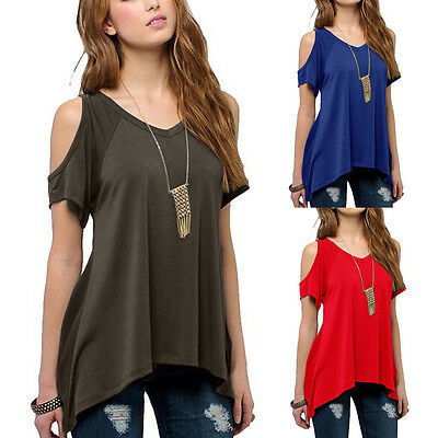 Women Casual Cold Off Shoulder Loose Short Sleeve Top T-Shirt Tee Blouse Summer