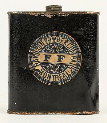 Canadian Hamilton Powder Co. Montreal, Quebec Paper Label Powder Tin Can Flask