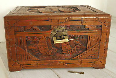 CHINESE HAND CARVED WOODEN STORAGE BOX (or CHEST) with LOCK & 2 KEYS