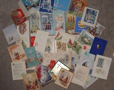 VINTAGE 1950s Greeting Religious CHRISTMAS CARDS LOT OF 30 + signed Xmas