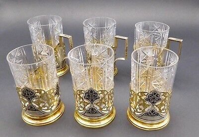 Russian Set Of 6 Solid Silver 875 Niello Gold-Washed Tea Glass Holders W/ Cups