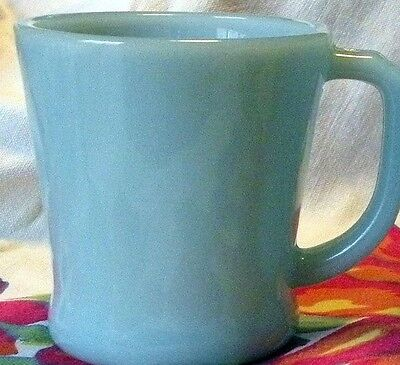 """Fire King Blue Turquoise 3-3/8"""" D Handle Coffee Mug Oven Ware Anchor Hocking"""