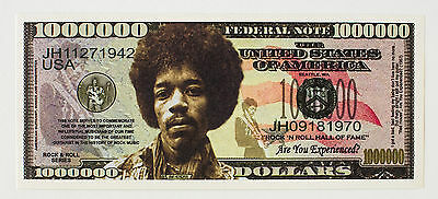 Jimi Hendrix USA fantasy paper money One Million Dollars Legends Series