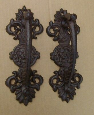 "2 Large Lion Head 9"" Cast Iron Gate Pull Barn Door Shed Pull Handle Rusty Brown"