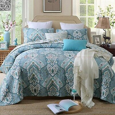New 100%Cotton Blue Bedspread Queen/King Size Bed Paisely Quilted Coverlet AC480