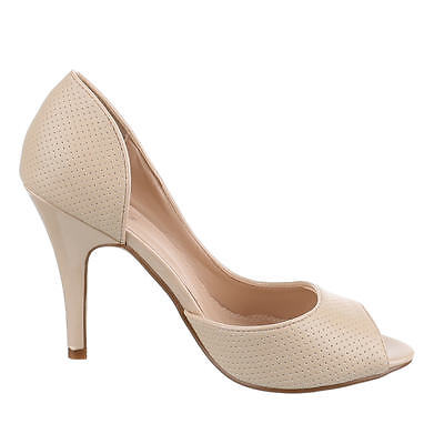 Fashion Pumps Damen Schuhe Sandaletten Heels Stiletto Peep Toe 10-2318 Beige 37