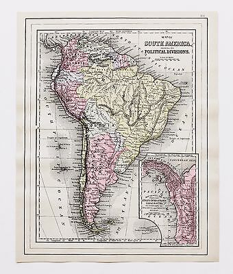 1894 South America Patagonia Map Brazil Amazon River Argentine Republic ORIGINAL