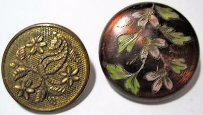 two Victorian Antique Buttons engraved embossed back marked
