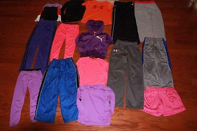 Lot Of 16 Youth Girls T Shirts Shorts Pants Under Armour Nike Fila Reebok Small