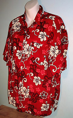 Men's Hawaiian Shirt Paradise Gold L S/S Button Down Red W Hibiscus