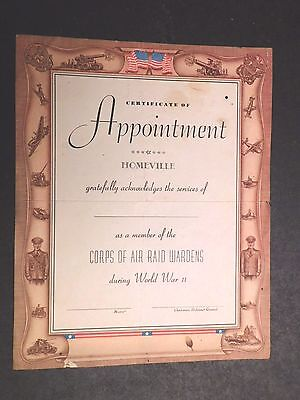 Ww2 Corps Of Air Raid Wardens Appointment Document - Original