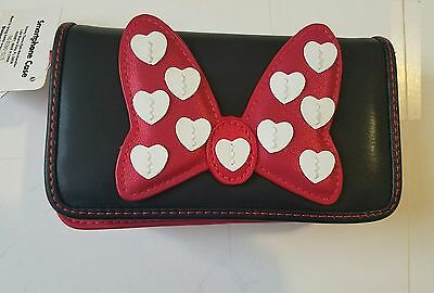 NWT Disney Parks Minnie Mouse Bow Button Smartphone Case Wallet Red Black Strap.