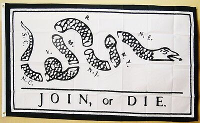 Join, Or Die. White Flag 3' x 5' Gun Rights Tea Party USA Historical Banner