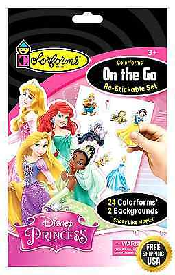 Colorforms Brand Disney Princess On The Go Restickable Set New