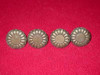 Lot of 4 Vintage Ornate Flower Cast Brass Dresser Drawer Cabinet Knobs/Pulls