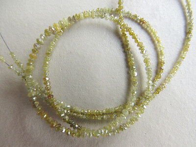 Natural 2 Beads Rough Faceted Loose Diamond Yellow Raw loose Diamond 3mm PU71