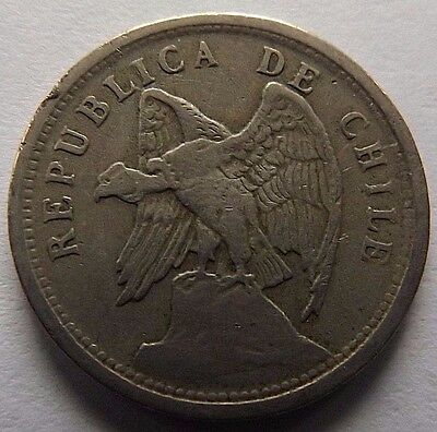 1925 Chile 20 Centavos! High Grade! Condor On Rock On Coin!