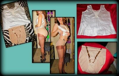 New, 2 Item, Satin Sleep Tank & Beige Shaping Brief Set, M, Escapades