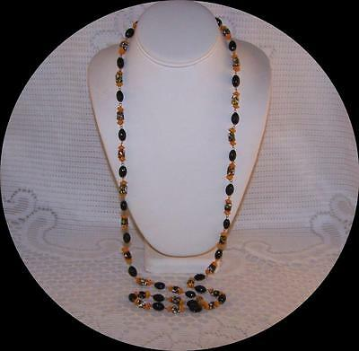 Vintage Art Deco, Murano Millefiori Glass, Wired, Flapper Necklace Italy.