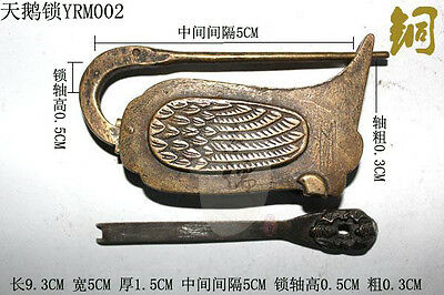 Rare Chinese old style Brass Carved swan lock and key