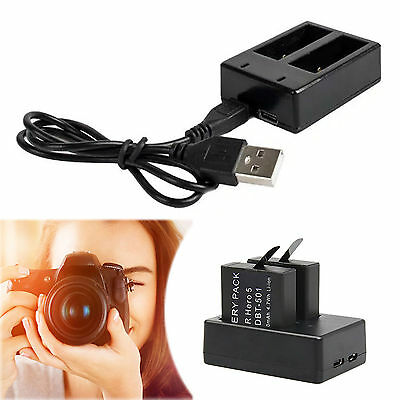 For Gopro Hero 5 Action Camera Dual 800mAh AHDBT-501 Li-ion Battery  USB Charger