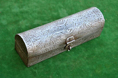 VTG Antique Rare Qajar Islamic OTTOMAN Iron Engraved Scriber Pen Jeweler box
